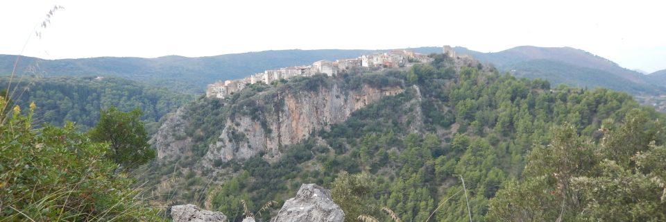 Ein Bergkamm begrünt durch zahlreiche Bäume und Sträucher - gesehen auf einer individuellen Wanderung in Süd-Italien