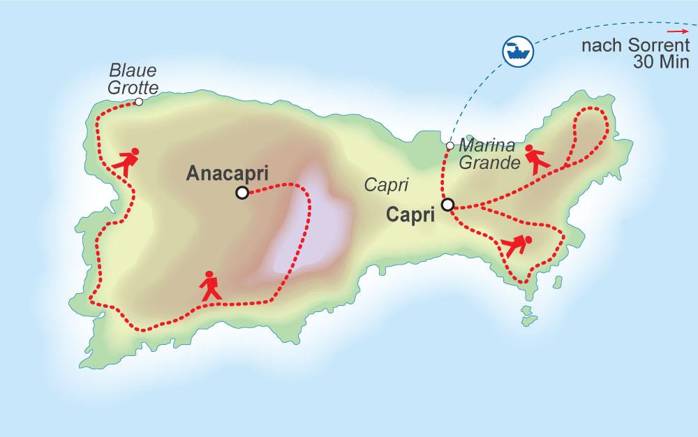 Wegskizze Wanderung Capri