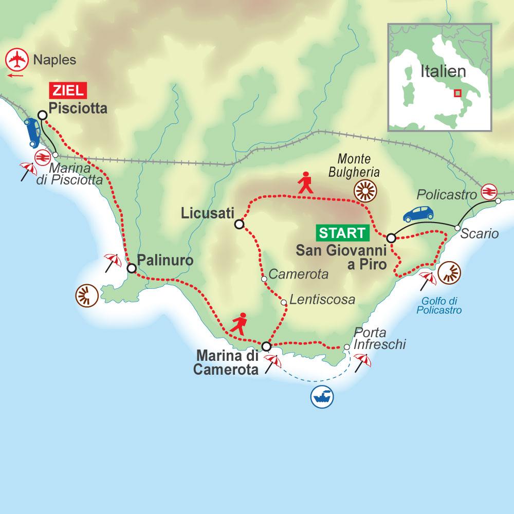 Wegskizze der individuellen Wanderung im Cilento (Süditalien) von San Giovanni nach Pisciotta, 7 Übernachtungen