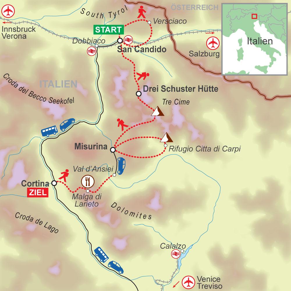 Wegskizze Wanderung Dolomitem, 3-Zinnen 6Ü