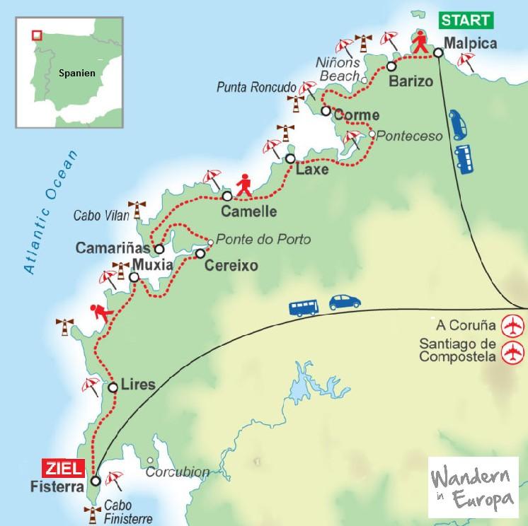 Wegskizze_Wanderung_Galizien_Spanien_10_Uebernachtungen