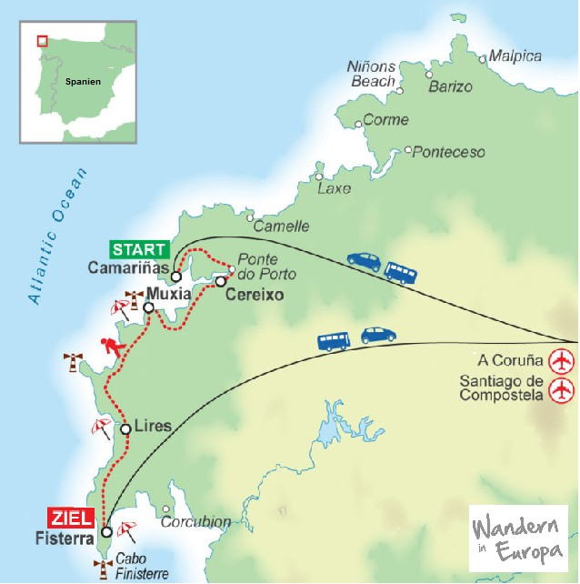Wegskizze_Wanderung_Galizien_Spanien_5_Uebernachtungen