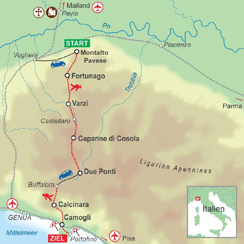 Wegskizze Wanderung Ligurien, Apennin 7Ü
