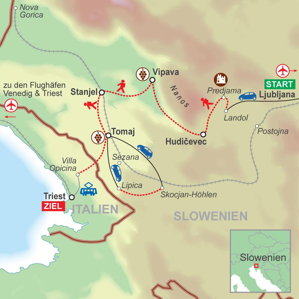 Wegskizze Wanderung Karst Slowenien 7Ü