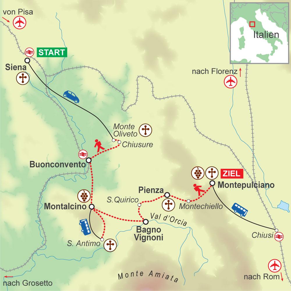 Wegskizze Wanderung Toskana 7Ü
