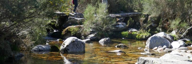 Blick auf einen Flusslauf, in dem mehrere Steine liegen - gesehen auf der individuellen Wanderung in Nord-Portugal