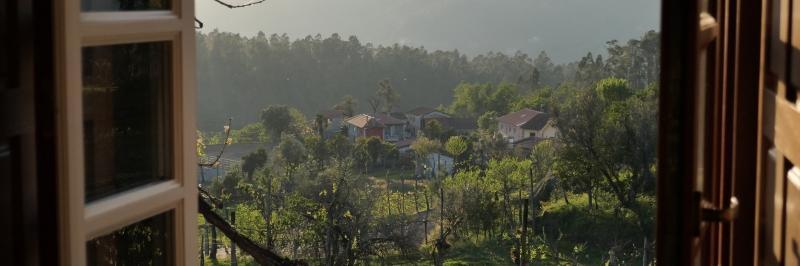 Blick aus einem Fenster heraus auf zahlreiche Bäume, dazwischen vereinzelt Häuser - gesehen auf der individuellen Wanderung in Nord-Portugal
